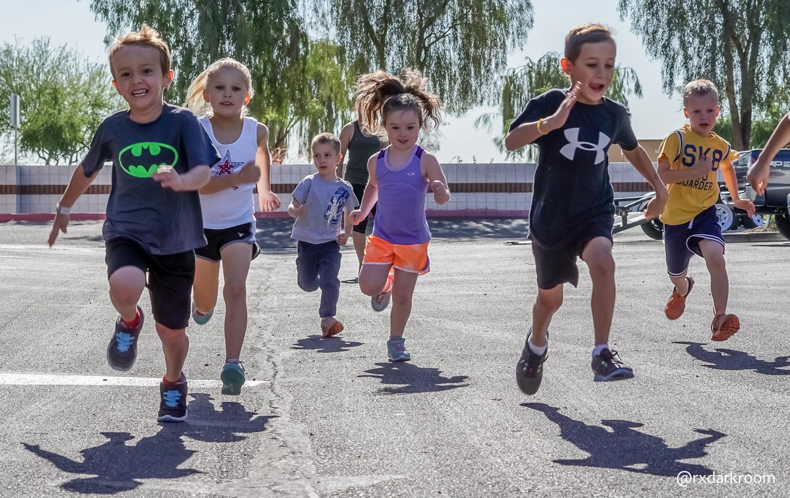 Kids run outside