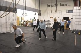 Kelly helping her master class with lunges.