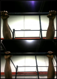 The top picture demonstrates good grip position with the thumb wrapped around the bar  and knuckles on top.