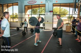 Heather Young and her Dad, Ken Barnes, compete in their first ever CrossFit competition. Heather surprised herslf doing much better than she anticipated in her first ever competition.