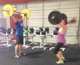 Joah and Danee wod together during Saturday partner wod.  They never miss a chance to workout together.