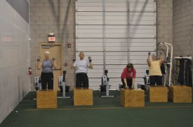 A few of our Masters athletes working on push press and box pushes.