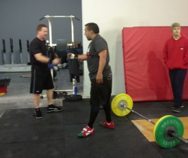 Ken credits  regular WOD partner, Carlos Orozco, for pushing him tio lift heavier and get stronger.