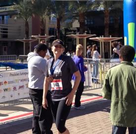 Landis Elliot finishing the full marathon in 4:03