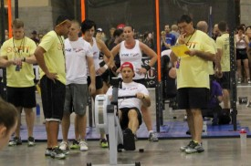 Ryann Roberts attacks his row portion of a team wod at the SicEst of the Southwest Competition in October 2012.