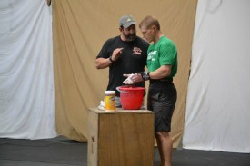 Josh getting some pointers from Olympic lifting Coach, Matt Foreman.