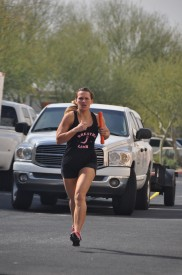 Stephanie Colton completes the 400 meter run portion of the team relay. Her team, the Josh Squad, finished 6th overall out of 25 teams.