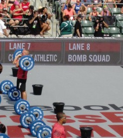 Peter competing in the Tennis Stadium at the Stub Hub Center during the 2012 CrossFit games.